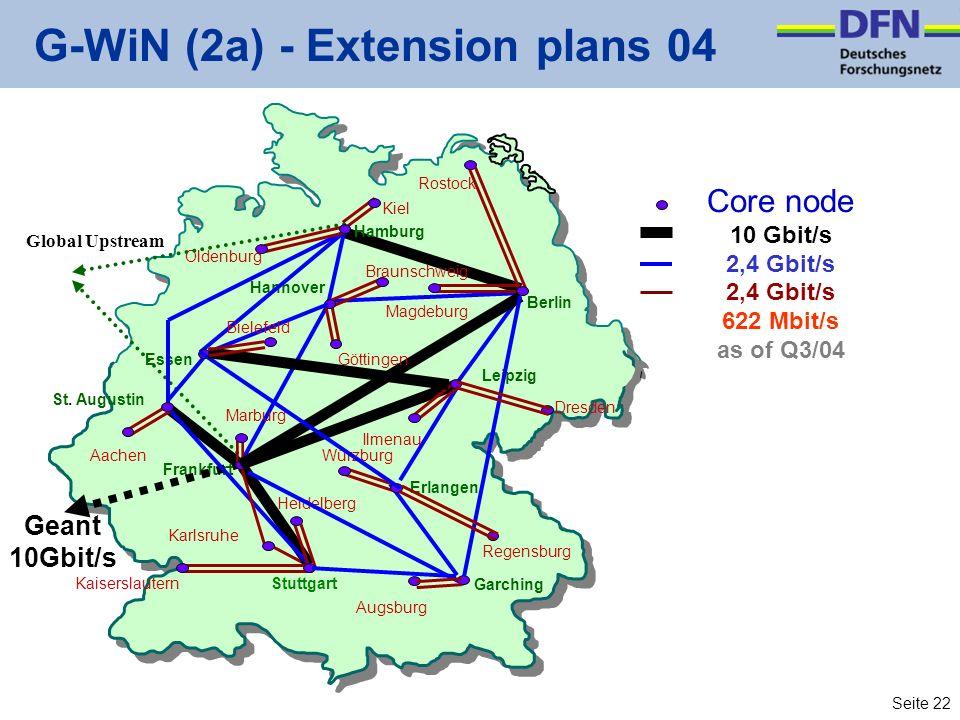 Seite 22 G-WiN (2a) - Extension plans 04 Leipzig Berlin Frankfurt Karlsruhe Garching Kiel Dresden Aachen Regensburg Kaiserslautern Augsburg Hannover Erlangen Heidelberg Ilmenau Würzburg Magdeburg Oldenburg Essen St.