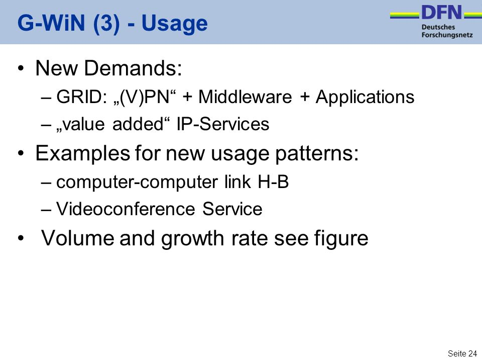 Seite 24 G-WiN (3) - Usage New Demands: –GRID: (V)PN + Middleware + Applications –value added IP-Services Examples for new usage patterns: –computer-c