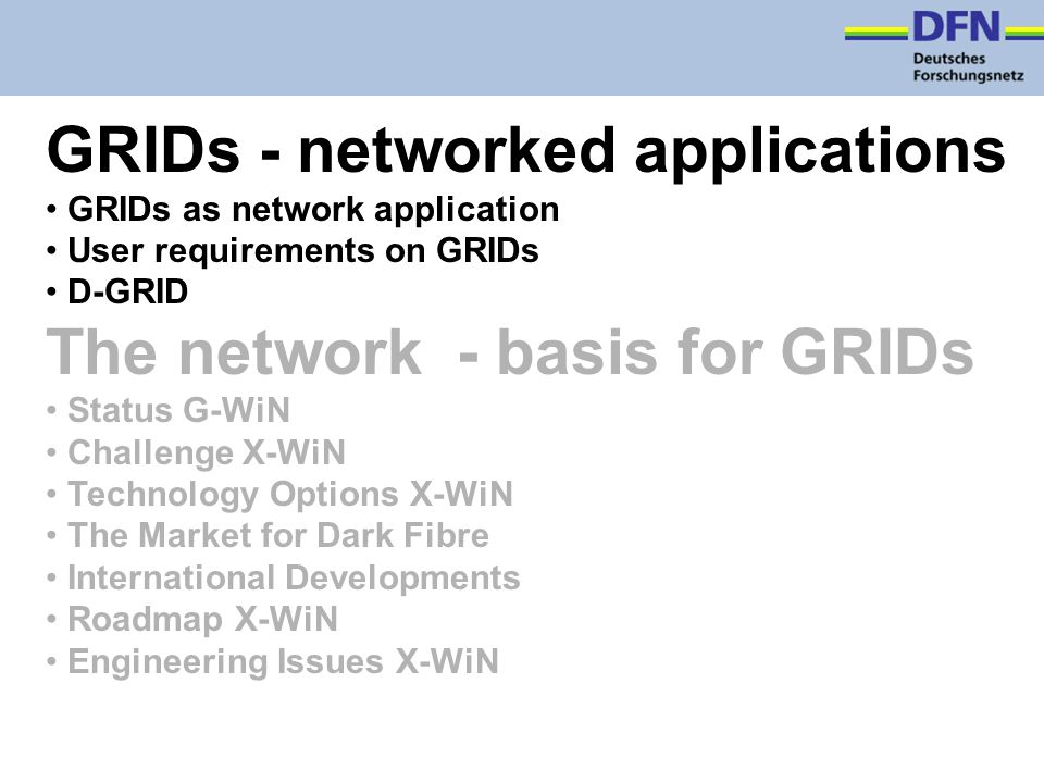 GRIDs - networked applications GRIDs as network application User requirements on GRIDs D-GRID The network - basis for GRIDs Status G-WiN Challenge X-WiN Technology Options X-WiN The Market for Dark Fibre International Developments Roadmap X-WiN Engineering Issues X-WiN