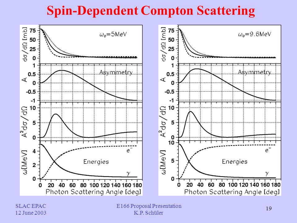 19 Spin-Dependent Compton Scattering SLAC EPAC 12 June 2003 E166 Proposal Presentation K.P. Schüler