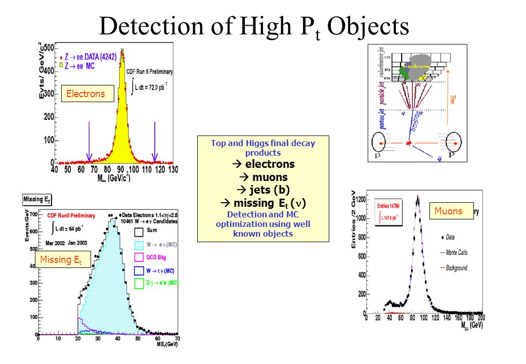 Detection of High P t Objects Electrons Missing E t Muons Top and Higgs final decay products electrons muons jets (b) missing E t ( ) Detection and MC optimization using well known objects