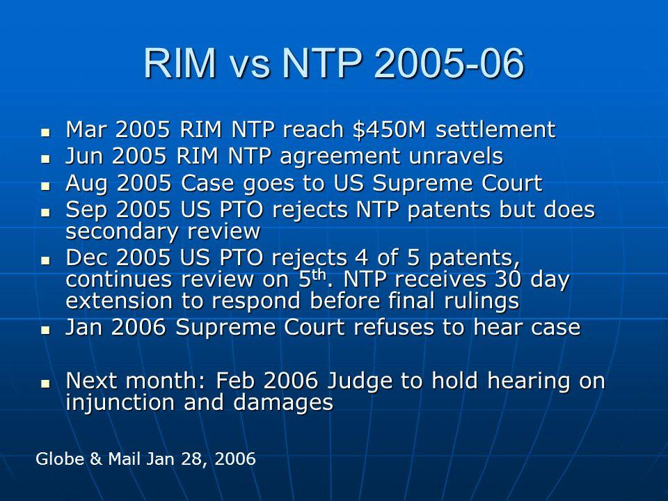 RIM vs NTP 2005-06 Mar 2005 RIM NTP reach $450M settlement Mar 2005 RIM NTP reach $450M settlement Jun 2005 RIM NTP agreement unravels Jun 2005 RIM NT