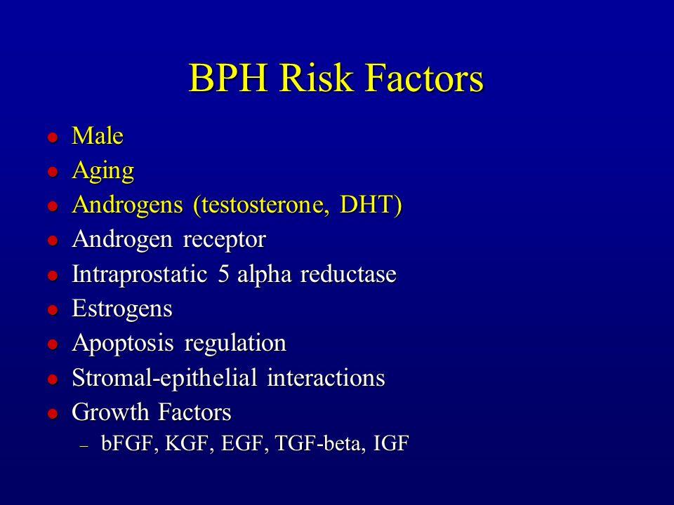 BPH Risk Factors l Male l Aging l Androgens (testosterone, DHT) l Androgen receptor l Intraprostatic 5 alpha reductase l Estrogens l Apoptosis regulat