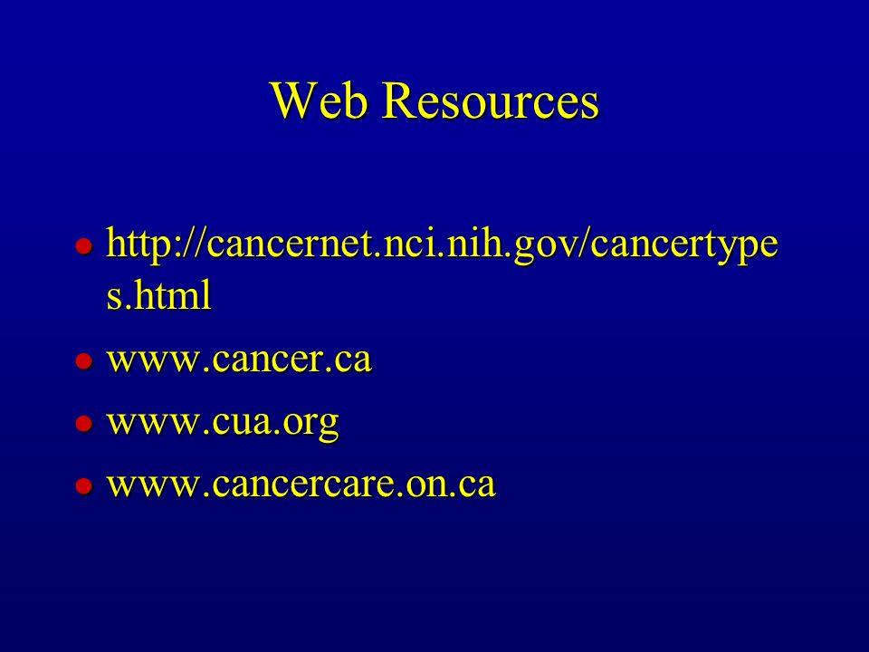 Web Resources l http://cancernet.nci.nih.gov/cancertype s.html l www.cancer.ca l www.cua.org l www.cancercare.on.ca