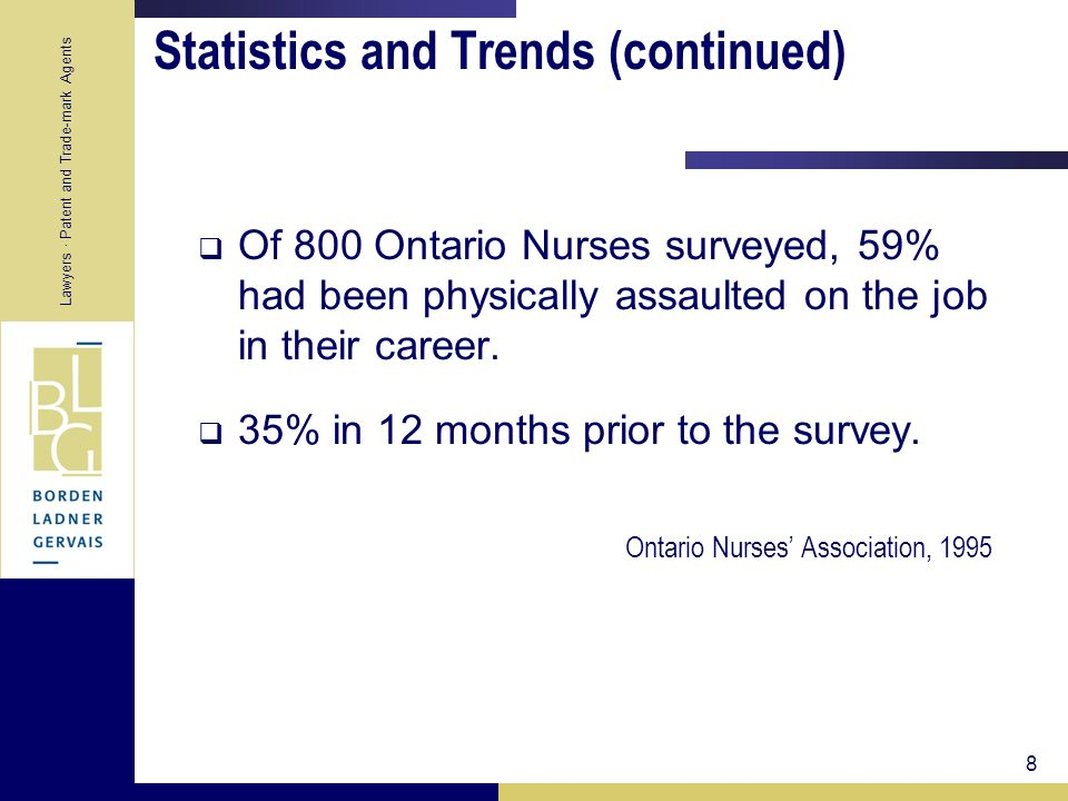 Lawyers · Patent and Trade-mark Agents 8 Statistics and Trends (continued) Of 800 Ontario Nurses surveyed, 59% had been physically assaulted on the jo
