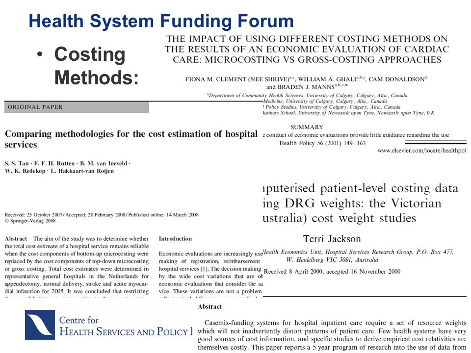 Costing Methods: Health System Funding Forum