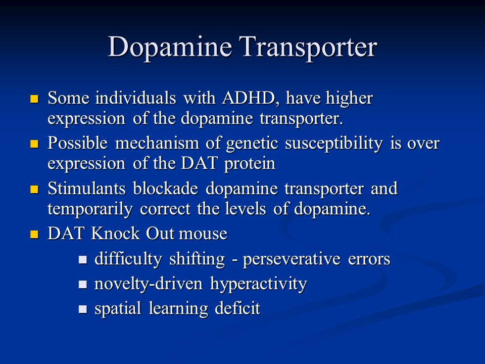 Dopamine Transporter Some individuals with ADHD, have higher expression of the dopamine transporter. Some individuals with ADHD, have higher expressio