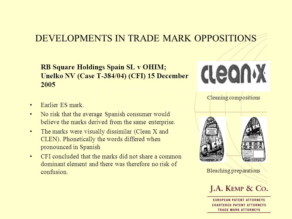 DEVELOPMENTS IN TRADE MARK OPPOSITIONS RB Square Holdings Spain SL v OHIM; Unelko NV (Case T-384/04) (CFI) 15 December 2005 Earlier ES mark. No risk t
