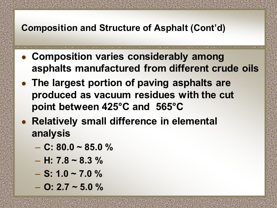 Composition and Structure of Asphalt (Contd) l Composition varies considerably among asphalts manufactured from different crude oils l The largest por
