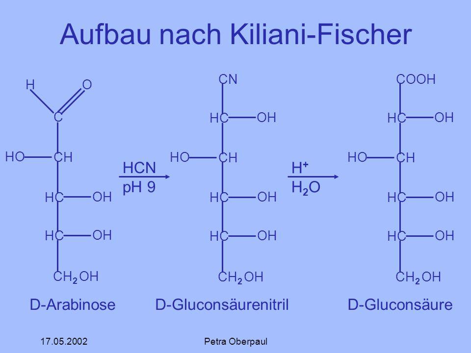 17.05.2002Petra Oberpaul Aufbau nach Kiliani-Fischer C CH HC CH 2 OH H O OH D-Arabinose HCN pH 9 CN HC CH HC CH 2 OH OH HO OH D-Gluconsäurenitril H+H2