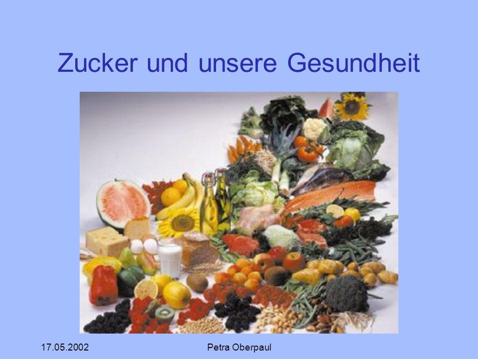 17.05.2002Petra Oberpaul Zucker und unsere Gesundheit