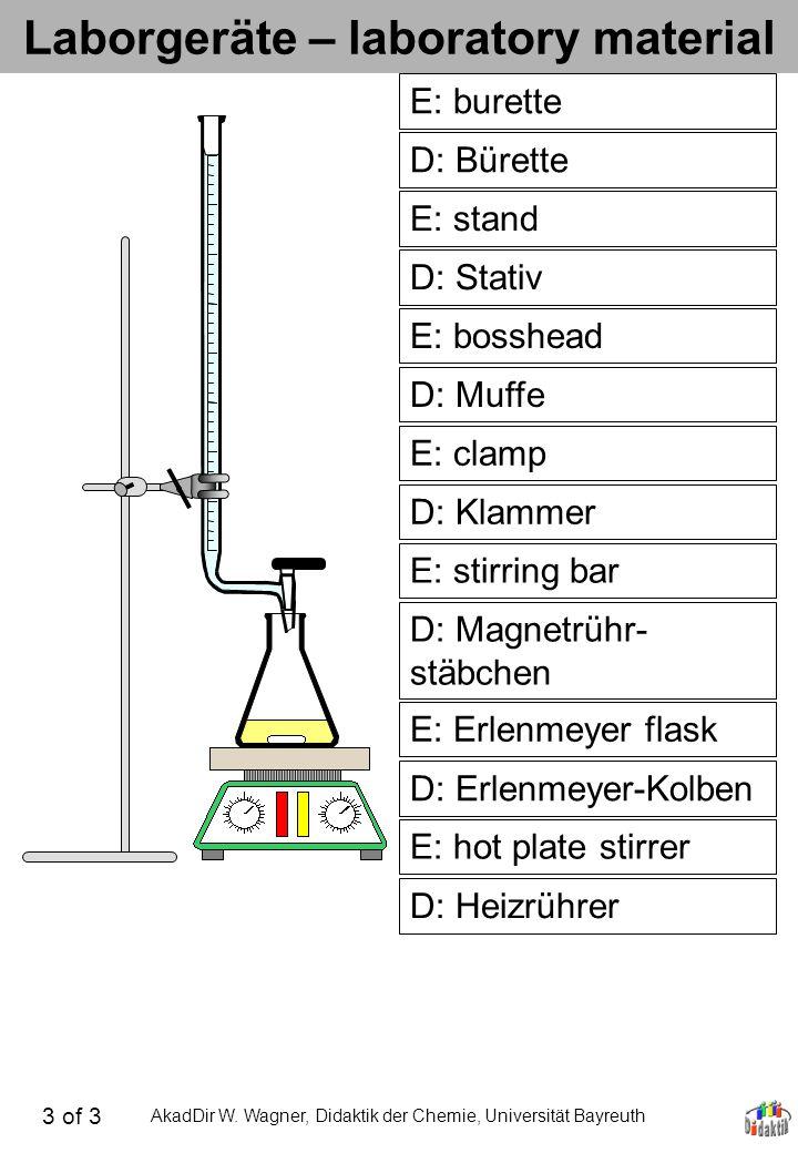 AkadDir W. Wagner, Didaktik der Chemie, Universität Bayreuth Laborgeräte – laboratory material D: Bürette E: burette D: Stativ E: stand D: Muffe E: bo