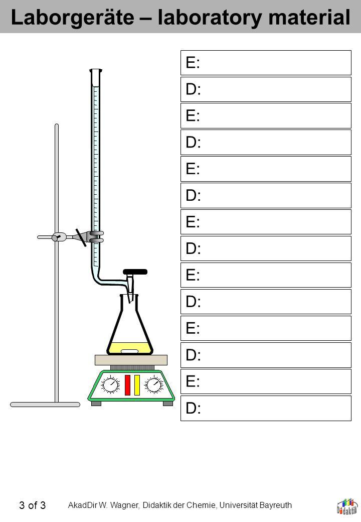 AkadDir W. Wagner, Didaktik der Chemie, Universität Bayreuth Laborgeräte – laboratory material D: E: D: E: D: E: D: E: D: E: D: E: D: 3 of 3