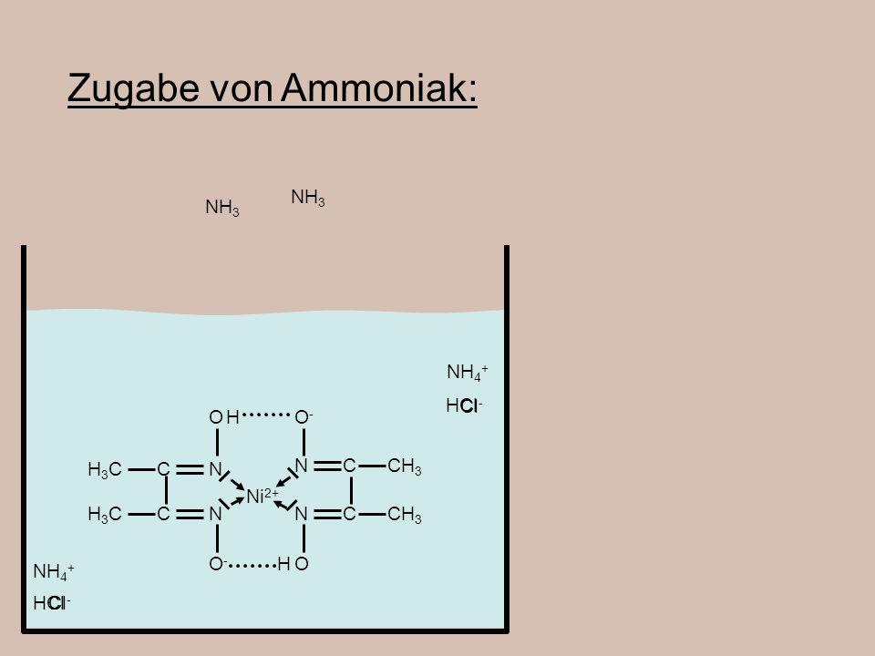 Ni 2+ CH 3 C C N N O-O- OH H3CH3C H3CH3C C C N N OH HCl O-O- NH 4 + Cl - NH 3 Zugabe von Ammoniak: