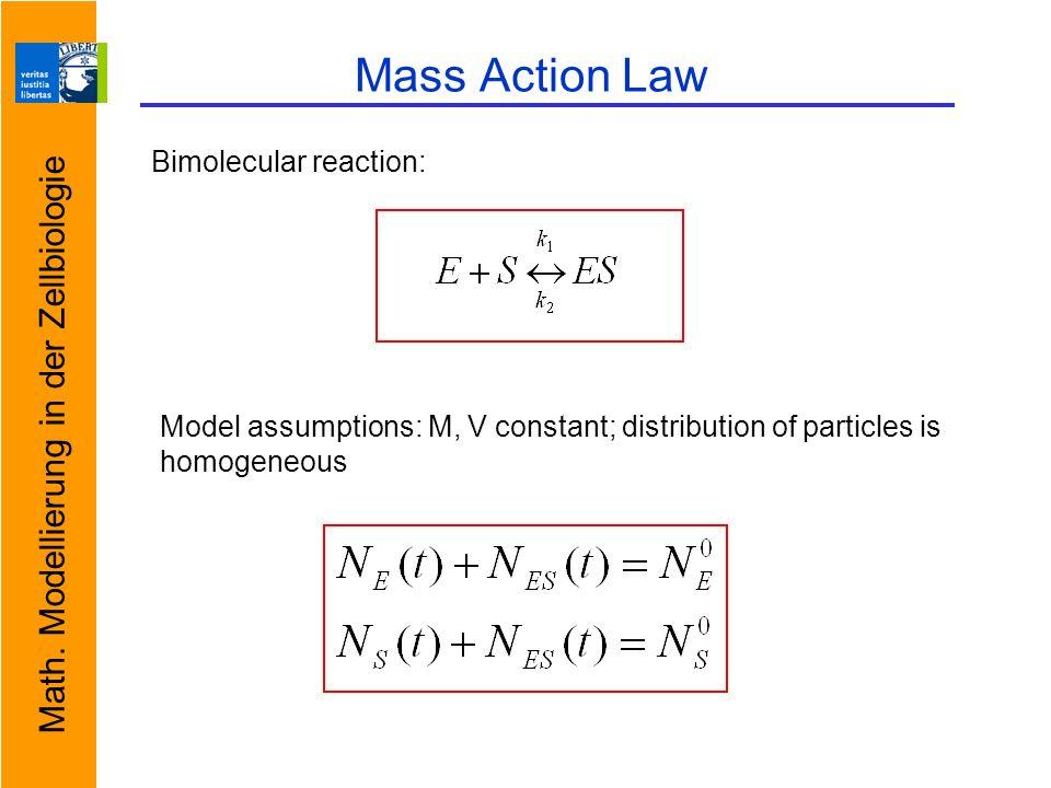 Math. Modellierung in der Zellbiologie Mass Action Law Bimolecular reaction: Model assumptions: M, V constant; distribution of particles is homogeneou