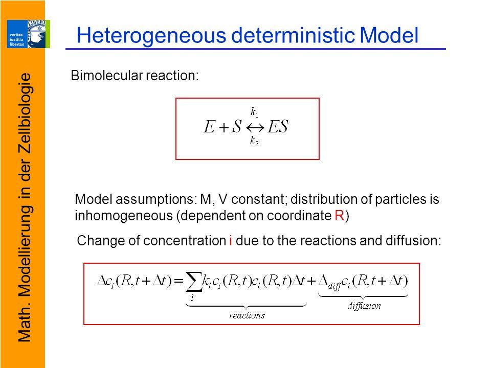 Math. Modellierung in der Zellbiologie Heterogeneous deterministic Model Bimolecular reaction: Model assumptions: M, V constant; distribution of parti