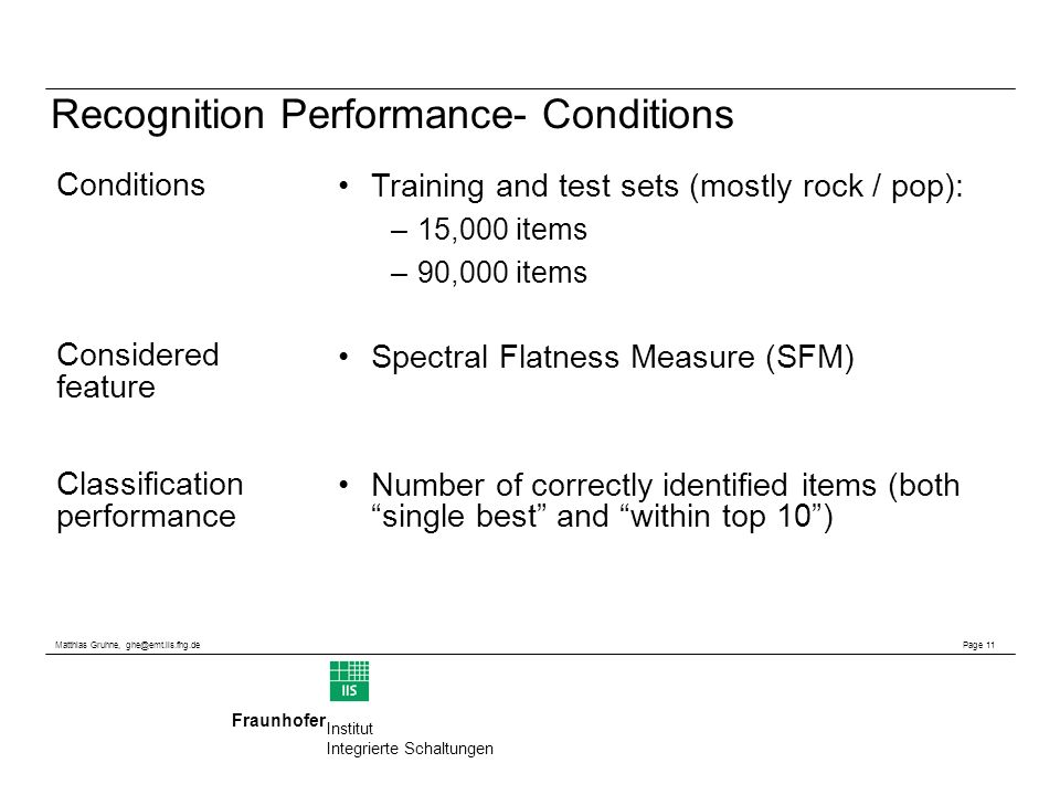 Matthias Gruhne, ghe@emt.iis.fhg.de Page 11 Fraunhofer Institut Integrierte Schaltungen Recognition Performance- Conditions Training and test sets (mostly rock / pop): –15,000 items –90,000 items Spectral Flatness Measure (SFM) Number of correctly identified items (both single best and within top 10) Conditions Considered feature Classification performance