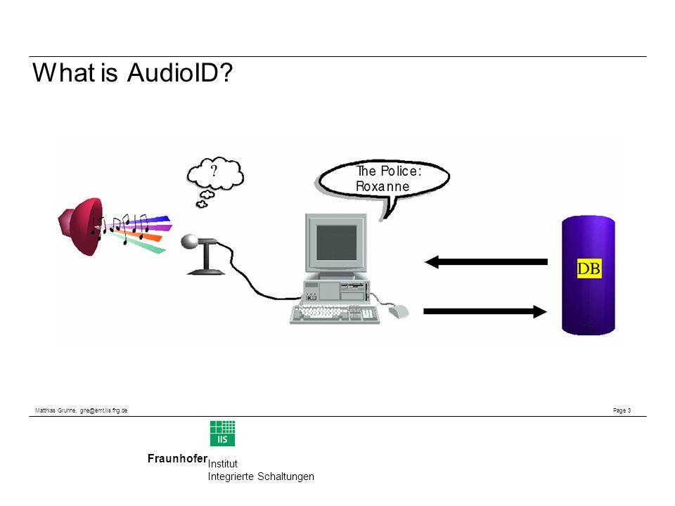 Matthias Gruhne, ghe@emt.iis.fhg.de Page 3 Fraunhofer Institut Integrierte Schaltungen What is AudioID?