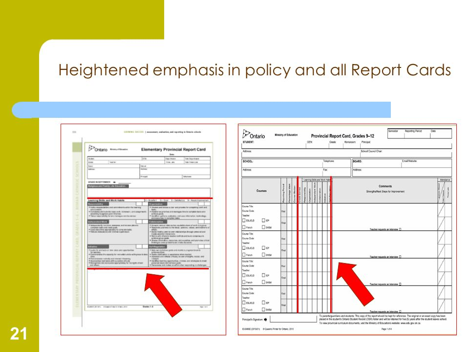 21 Heightened emphasis in policy and all Report Cards