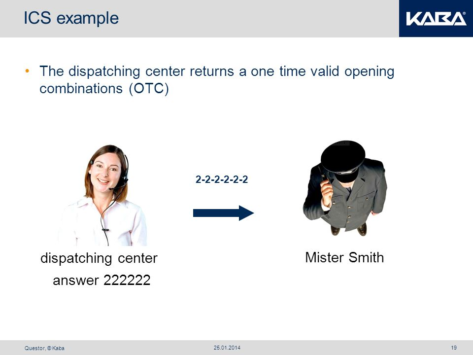 Questor, © Kaba 25.01.201419 ICS example The dispatching center returns a one time valid opening combinations (OTC) Mister Smith answer 222222 2-2-2-2
