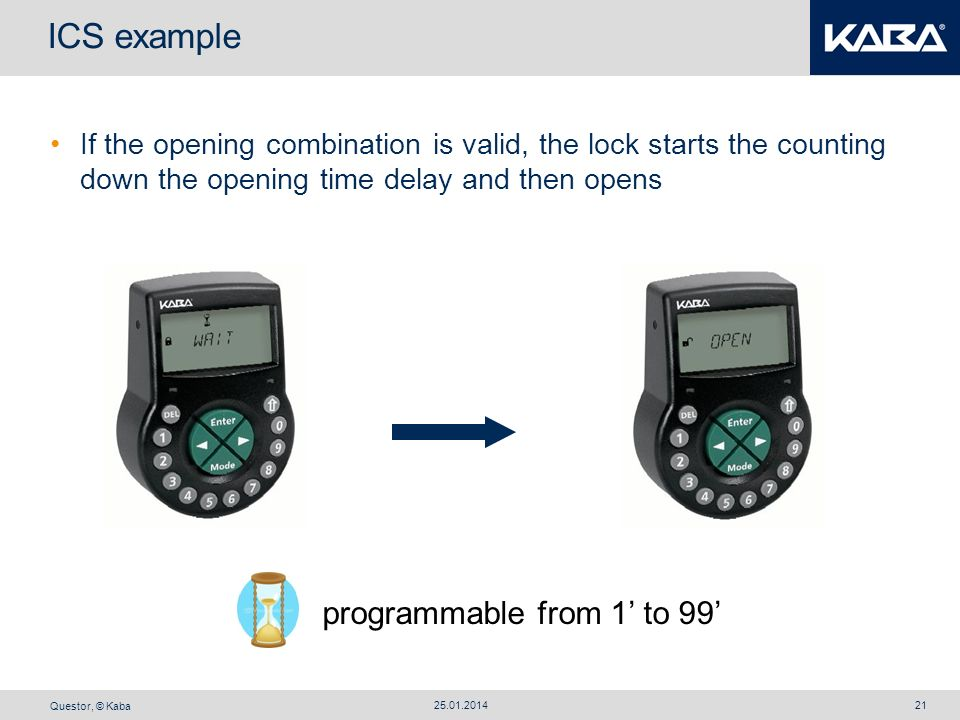 Questor, © Kaba 25.01.201421 programmable from 1 to 99 ICS example If the opening combination is valid, the lock starts the counting down the opening