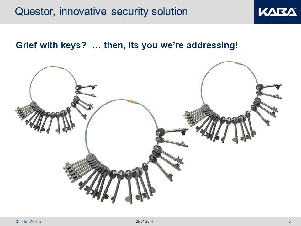 Questor, © Kaba 25.01.20143 Grief with keys? … then, its you were addressing! Questor, innovative security solution