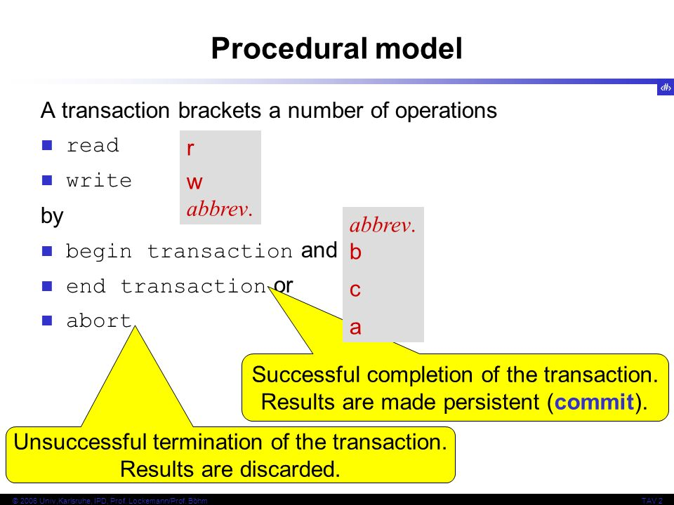 9 © 2006 Univ,Karlsruhe, IPD, Prof. Lockemann/Prof. BöhmTAV 2 Procedural model A transaction brackets a number of operations read write by begin trans