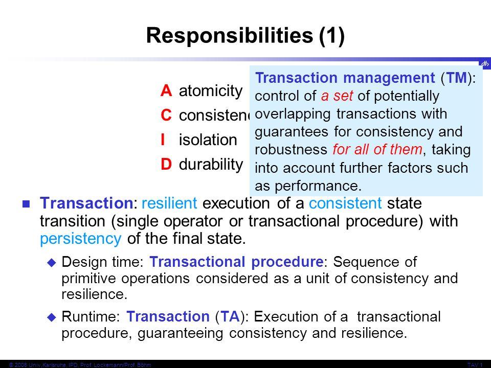 22 © 2006 Univ,Karlsruhe, IPD, Prof. Lockemann/Prof. BöhmTAV 1 Responsibilities (1) Aatomicity Cconsistency Iisolation Ddurability Transaction: resili