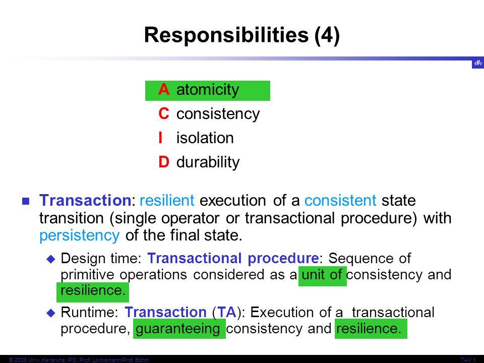 25 © 2006 Univ,Karlsruhe, IPD, Prof. Lockemann/Prof. BöhmTAV 1 Responsibilities (4) Aatomicity Cconsistency Iisolation Ddurability Transaction: resili