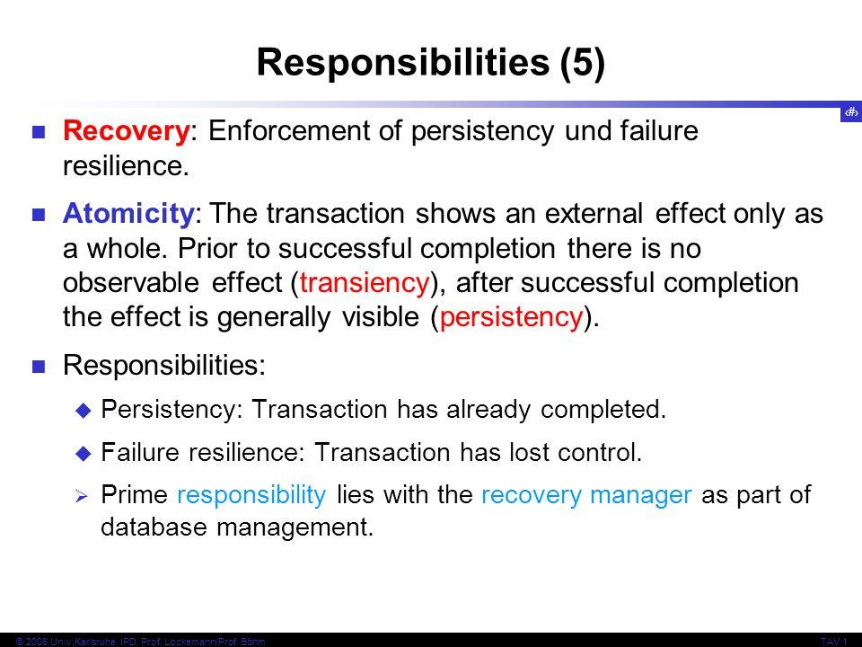 26 © 2006 Univ,Karlsruhe, IPD, Prof. Lockemann/Prof. BöhmTAV 1 Responsibilities (5) Recovery: Enforcement of persistency und failure resilience. Atomi