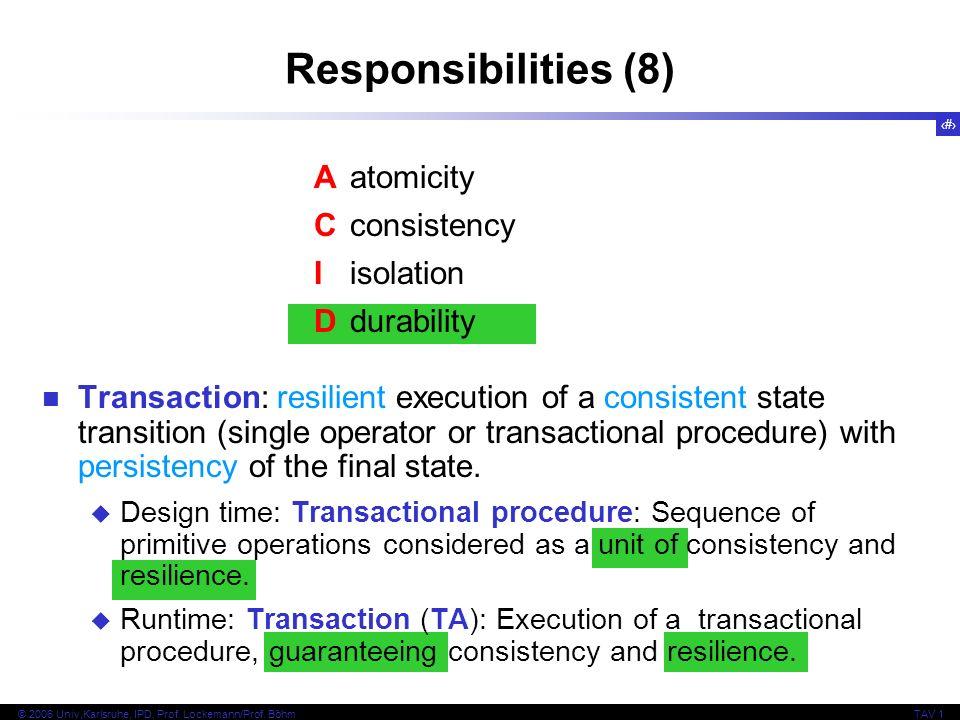 29 © 2006 Univ,Karlsruhe, IPD, Prof. Lockemann/Prof. BöhmTAV 1 Responsibilities (8) Aatomicity Cconsistency Iisolation Ddurability Transaction: resili