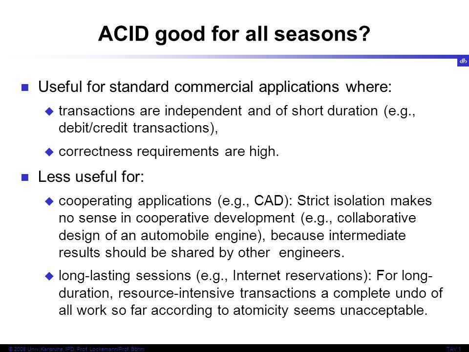 32 © 2006 Univ,Karlsruhe, IPD, Prof. Lockemann/Prof. BöhmTAV 1 ACID good for all seasons? Useful for standard commercial applications where: transacti
