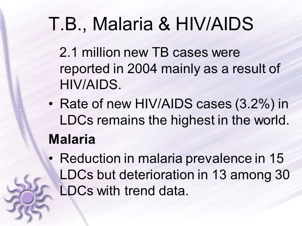 T.B., Malaria & HIV/AIDS 2.1 million new TB cases were reported in 2004 mainly as a result of HIV/AIDS. Rate of new HIV/AIDS cases (3.2%) in LDCs rema