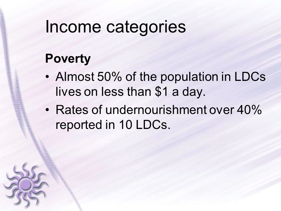 Income categories Poverty Almost 50% of the population in LDCs lives on less than $1 a day. Rates of undernourishment over 40% reported in 10 LDCs.