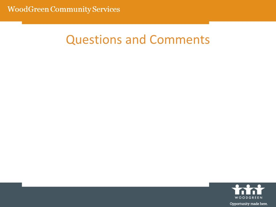WoodGreen Community Services Questions and Comments