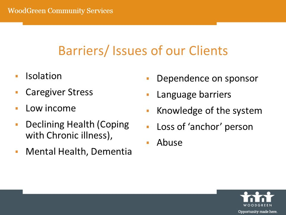 Barriers/ Issues of our Clients Isolation Caregiver Stress Low income Declining Health (Coping with Chronic illness), Mental Health, Dementia Dependence on sponsor Language barriers Knowledge of the system Loss of anchor person Abuse