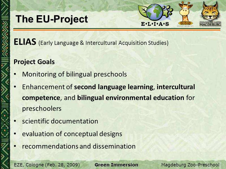 E L I A S EZE, Cologne (Feb. 28, 2009)Magdeburg Zoo-Preschool Green Immersion The EU-Project ELIAS (Early Language & Intercultural Acquisition Studies