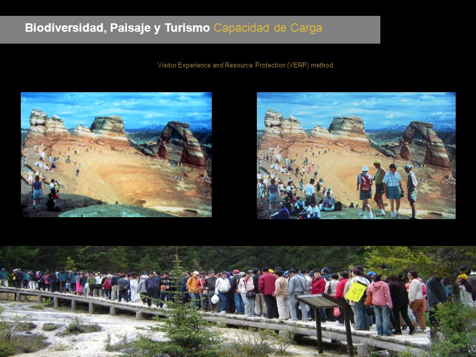 Biodiversidad, Paisaje y Turismo Capacidad de Carga Visitor Experience and Resource Protection (VERP) method