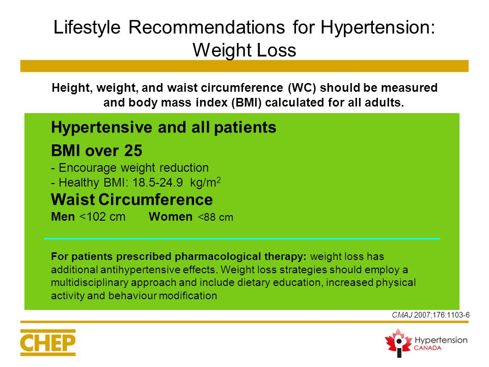 Lifestyle Recommendations for Hypertension: Weight Loss Height, weight, and waist circumference (WC) should be measured and body mass index (BMI) calc