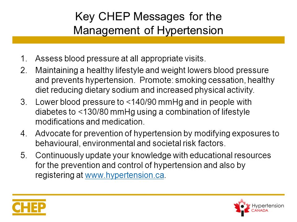 Key CHEP Messages for the Management of Hypertension 1.Assess blood pressure at all appropriate visits. 2.Maintaining a healthy lifestyle and weight l