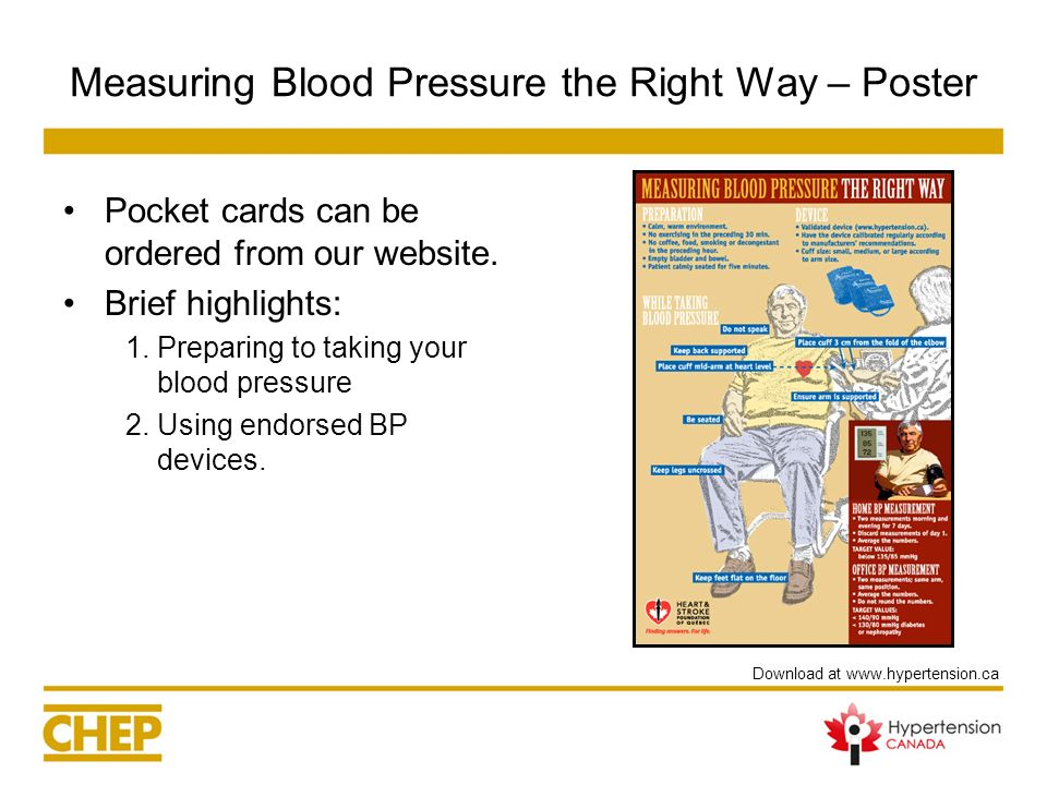 Measuring Blood Pressure the Right Way – Poster Pocket cards can be ordered from our website. Brief highlights: 1.Preparing to taking your blood press