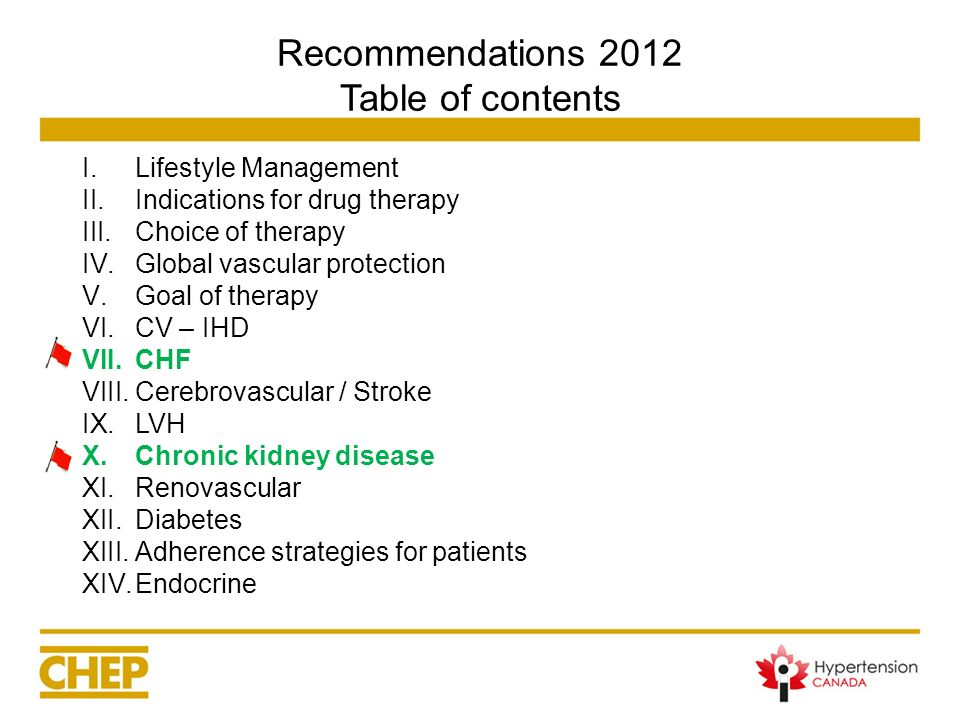 Recommendations 2012 Table of contents I.Lifestyle Management II.Indications for drug therapy III.Choice of therapy IV.Global vascular protection V.Go