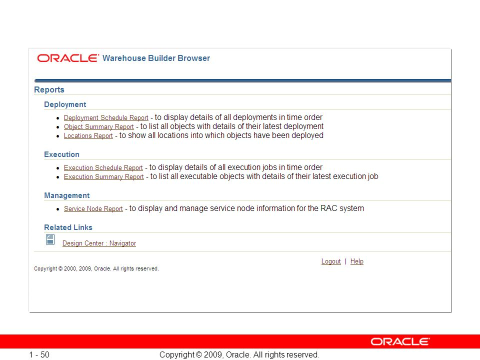 Copyright © 2009, Oracle. All rights reserved. 1 - 50