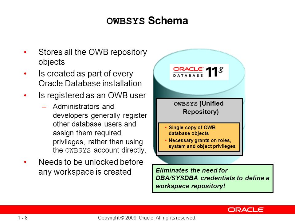 Copyright © 2009, Oracle. All rights reserved. 1 - 8 OWBSYS Schema Stores all the OWB repository objects Is created as part of every Oracle Database i