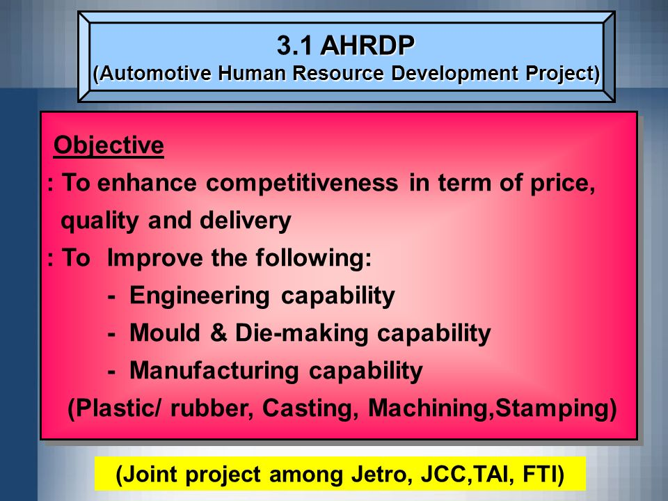 AHRDP 3.1 AHRDP (Automotive Human Resource Development Project) Objective : To enhance competitiveness in term of price, quality and delivery : To Imp