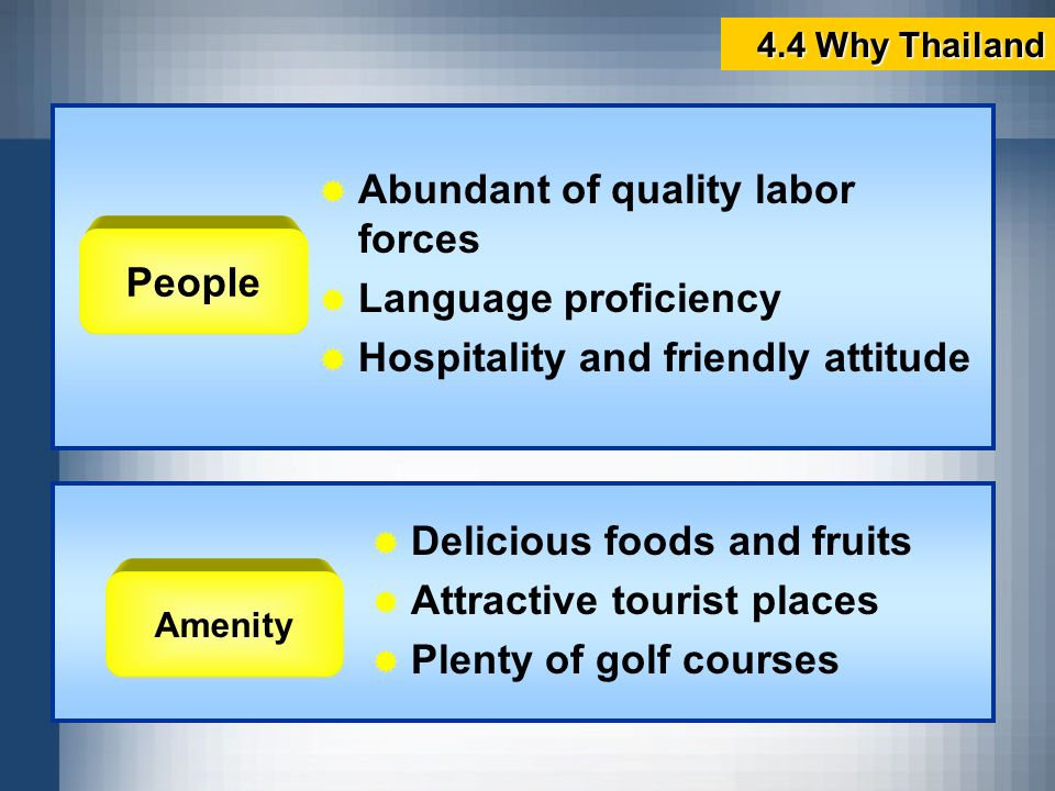 People Abundant of quality labor forces Language proficiency Hospitality and friendly attitude Amenity Delicious foods and fruits Attractive tourist p