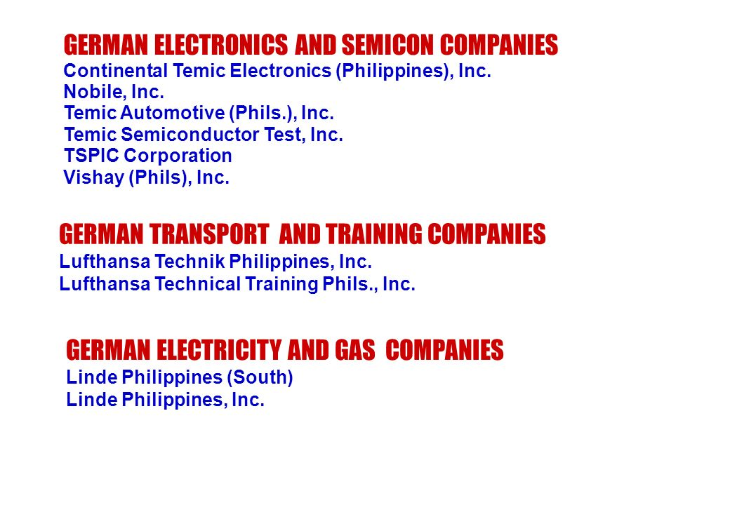 GERMAN ELECTRONICS AND SEMICON COMPANIES Continental Temic Electronics (Philippines), Inc. Nobile, Inc. Temic Automotive (Phils.), Inc. Temic Semicond