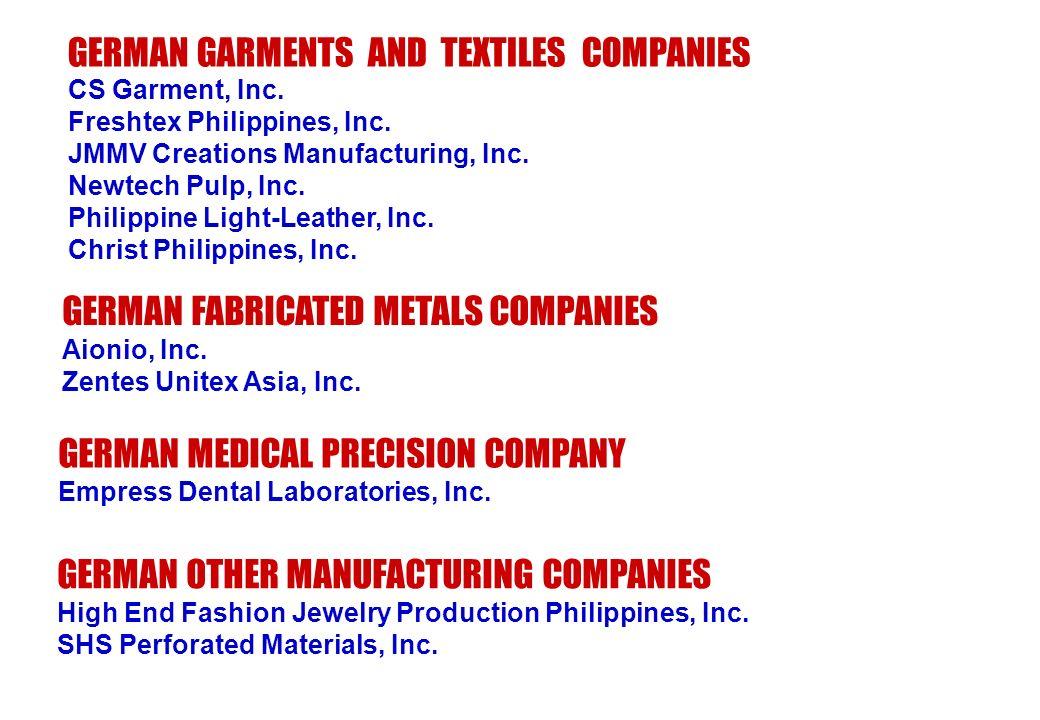 GERMAN GARMENTS AND TEXTILES COMPANIES CS Garment, Inc. Freshtex Philippines, Inc. JMMV Creations Manufacturing, Inc. Newtech Pulp, Inc. Philippine Li