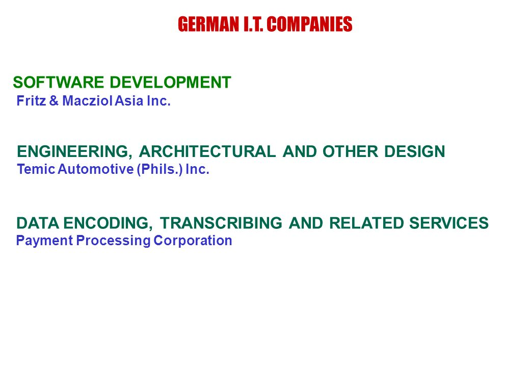 Fritz & Macziol Asia Inc. SOFTWARE DEVELOPMENT GERMAN I.T. COMPANIES ENGINEERING, ARCHITECTURAL AND OTHER DESIGN Temic Automotive (Phils.) Inc. DATA E