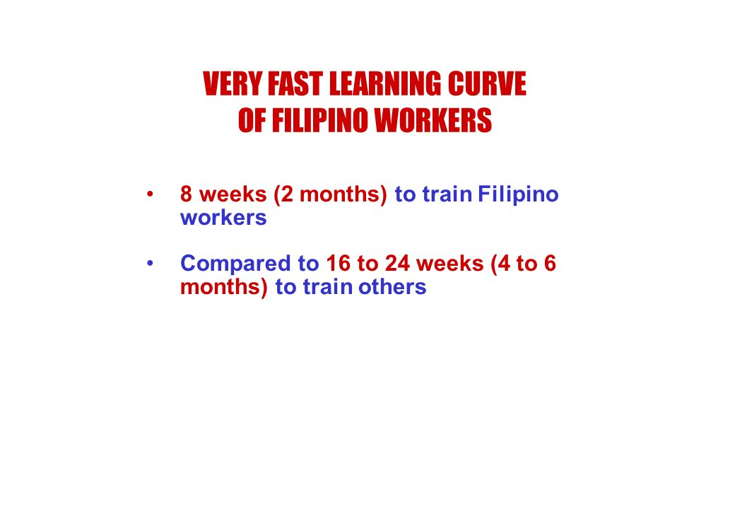VERY FAST LEARNING CURVE OF FILIPINO WORKERS 8 weeks (2 months) to train Filipino workers Compared to 16 to 24 weeks (4 to 6 months) to train others